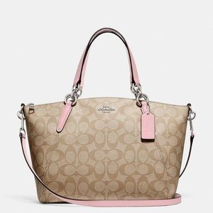 Coach NWT Signature Print and Light Pink Satchel